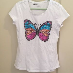 Girls Sequin butterfly T-shirt